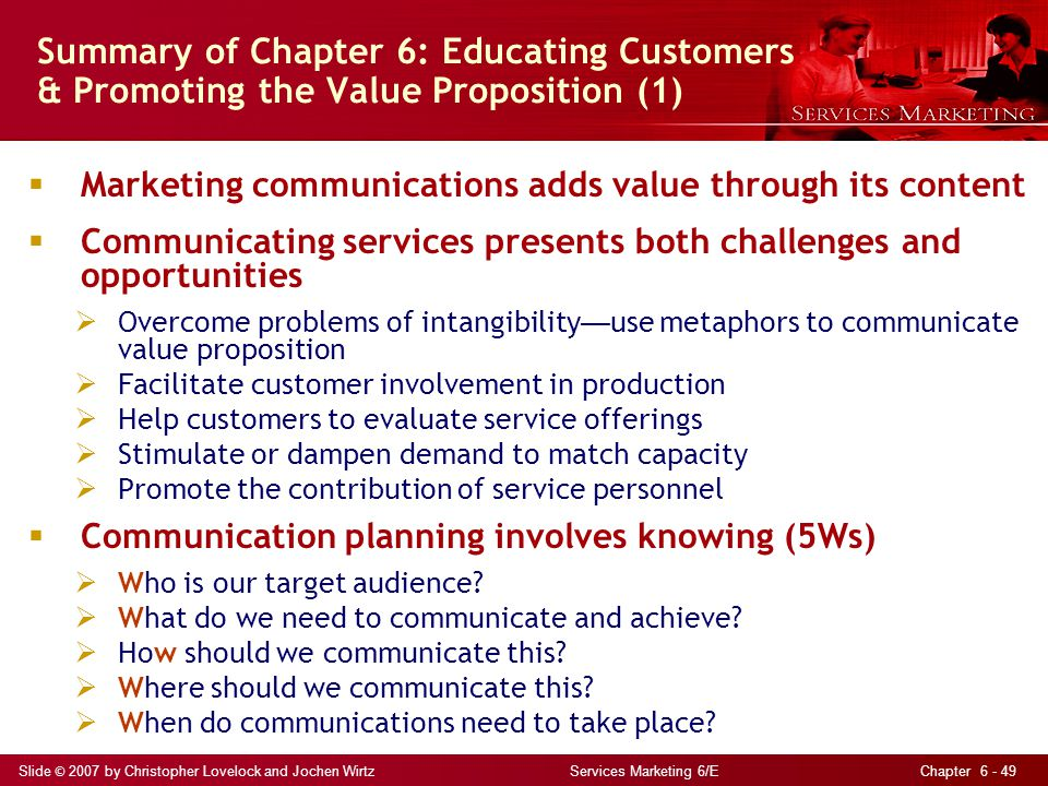 Summary of Chapter 6: Educating Customers & Promoting the Value Proposition (1)
