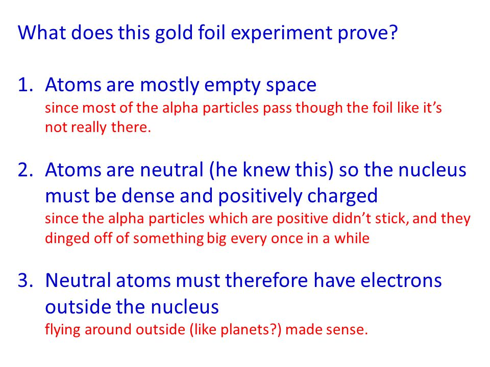 What does this gold foil experiment prove