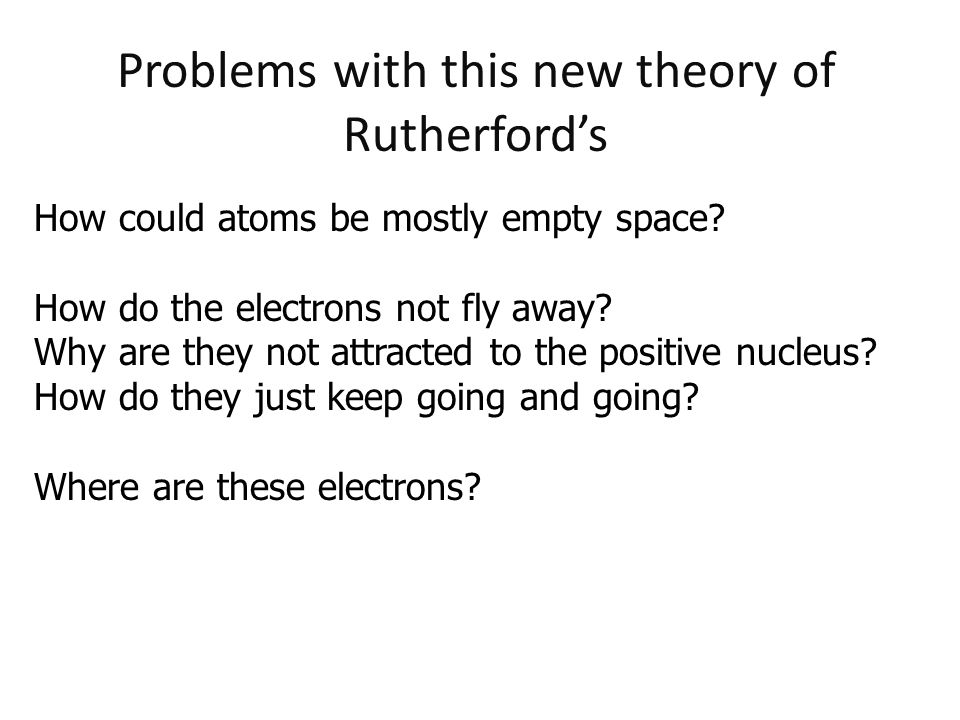 Problems with this new theory of Rutherford's