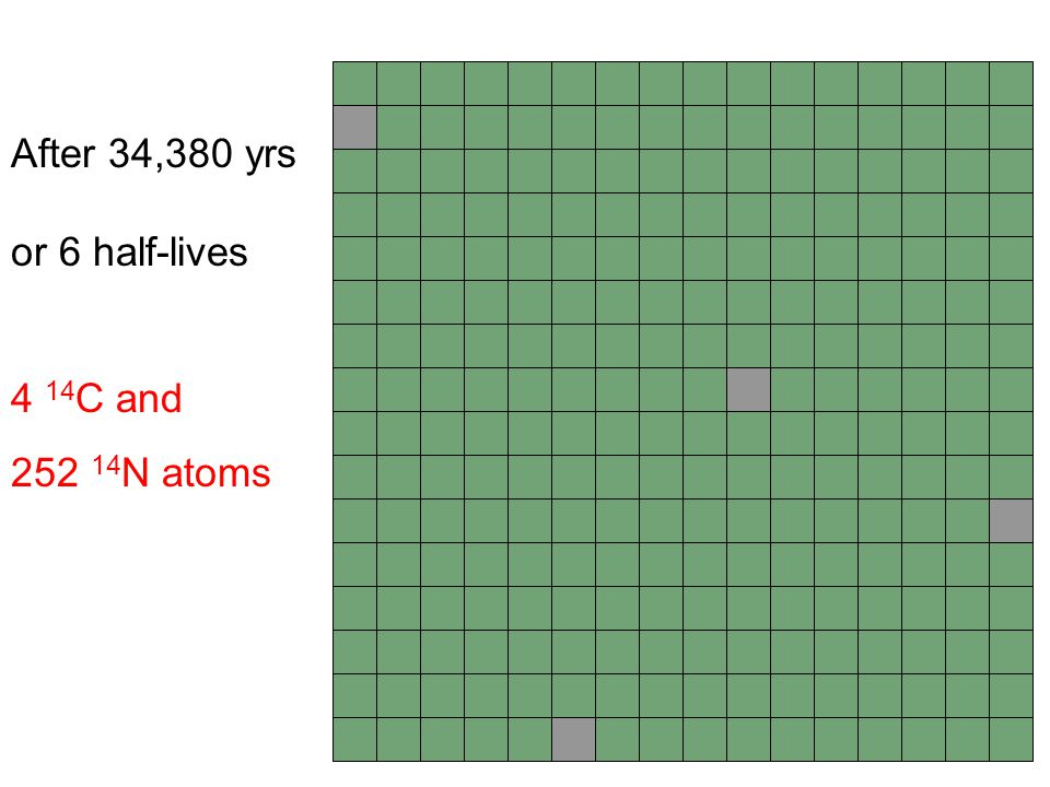 After 34,380 yrs or 6 half-lives 4 14C and 252 14N atoms