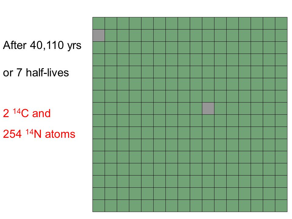 After 40,110 yrs or 7 half-lives 2 14C and 254 14N atoms