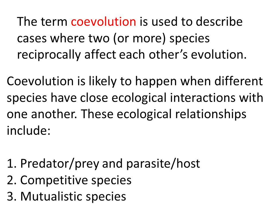 The term coevolution is used to describe cases where two (or more) species reciprocally affect each other's evolution.