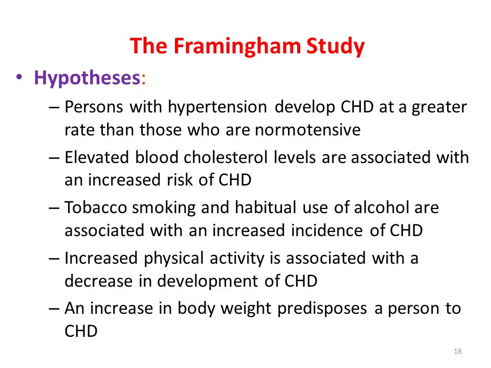 The Framingham Study Hypotheses: