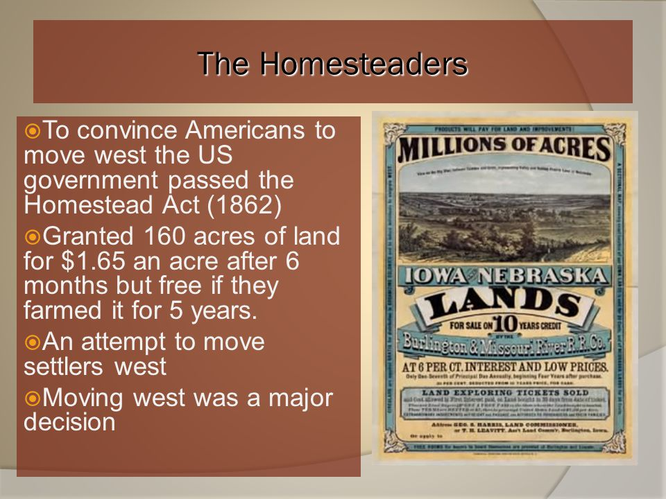 The Homesteaders To convince Americans to move west the US government passed the Homestead Act (1862)