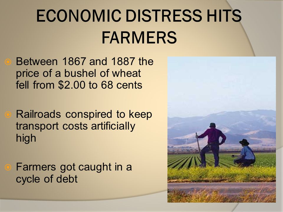ECONOMIC DISTRESS HITS FARMERS