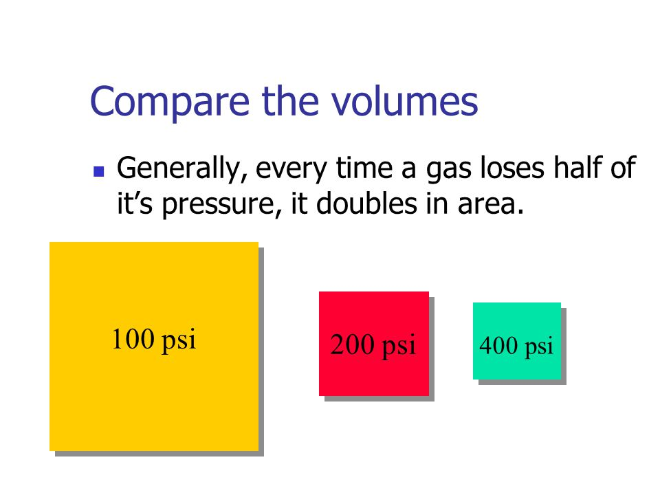 Compare the volumes Generally, every time a gas loses half of it's pressure, it doubles in area. 100 psi.