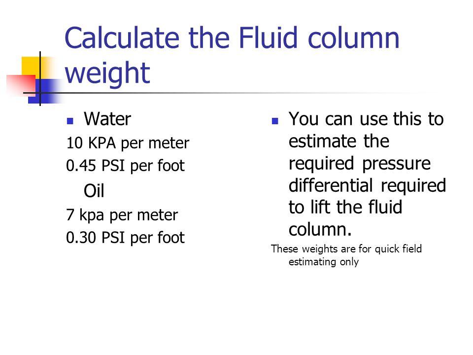 Calculate the Fluid column weight