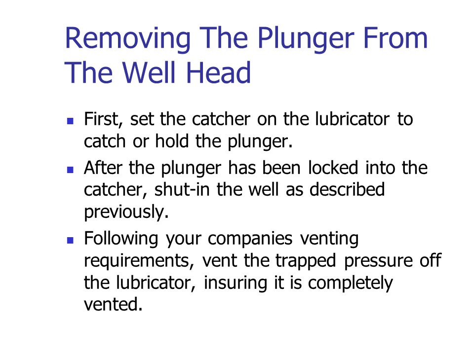 Removing The Plunger From The Well Head