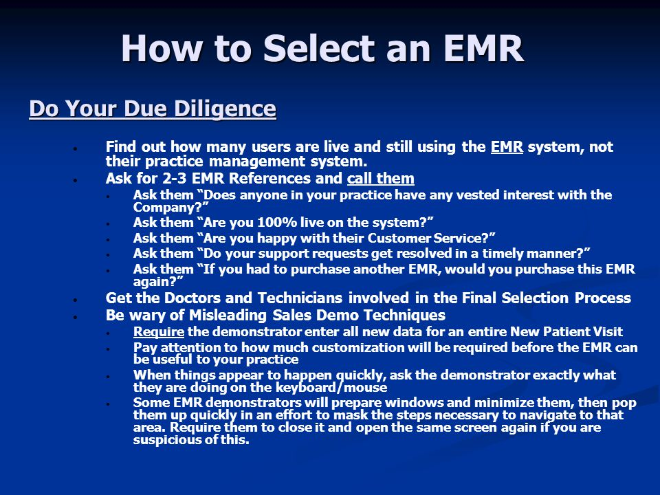 How to Select an EMR Do Your Due Diligence