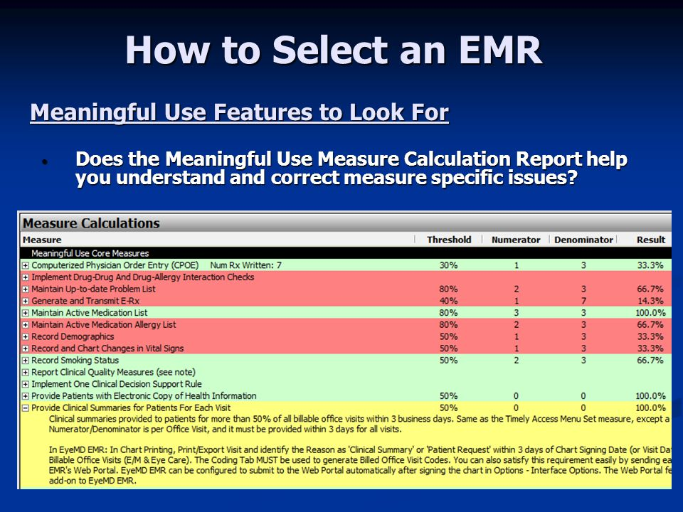 How to Select an EMR Meaningful Use Features to Look For