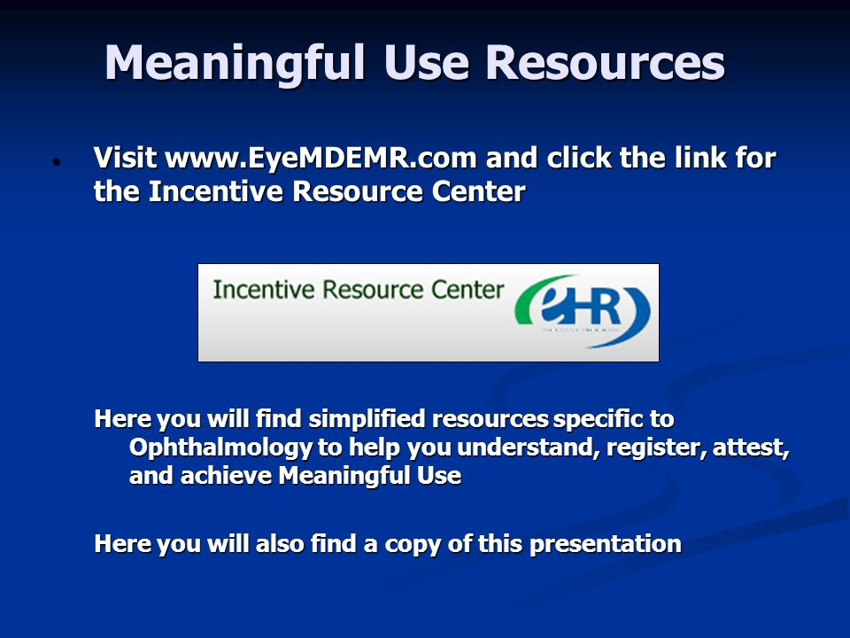 Meaningful Use Resources