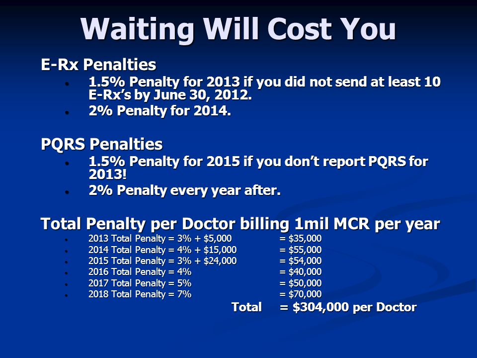 Waiting Will Cost You E-Rx Penalties PQRS Penalties