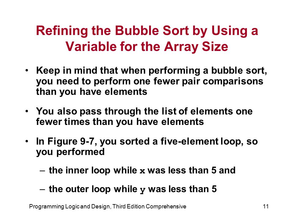 Refining the Bubble Sort by Using a Variable for the Array Size