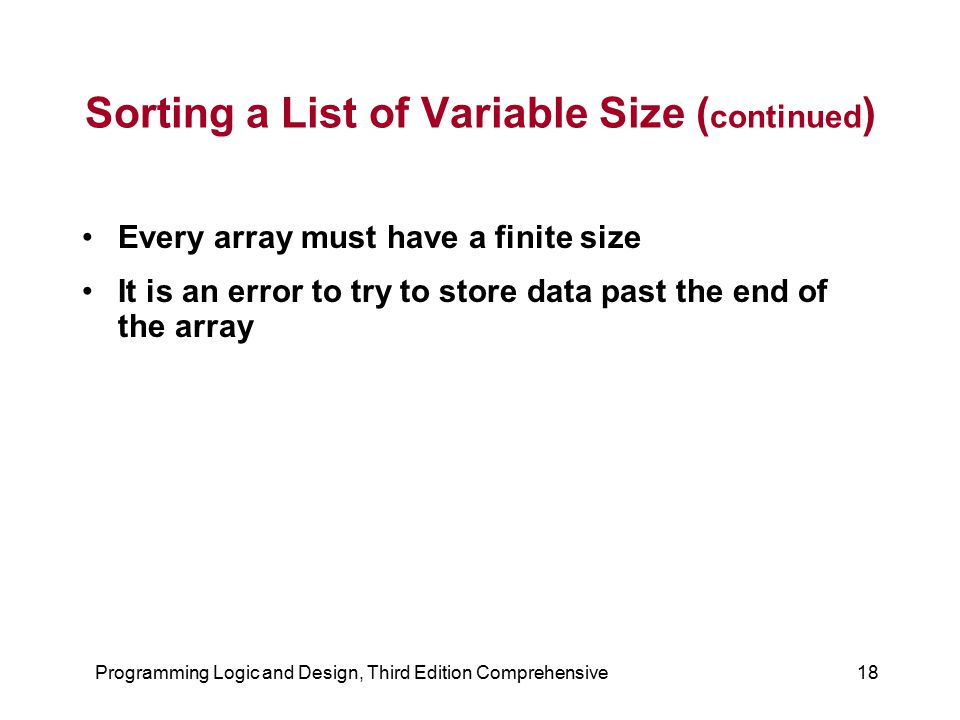 Sorting a List of Variable Size (continued)