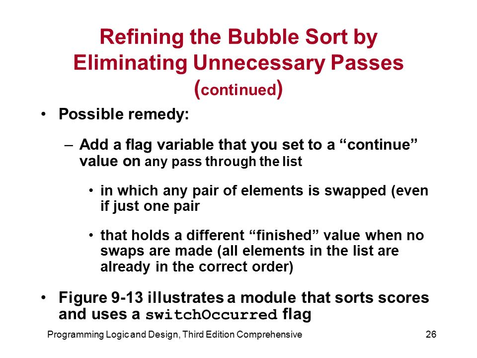 Refining the Bubble Sort by Eliminating Unnecessary Passes (continued)