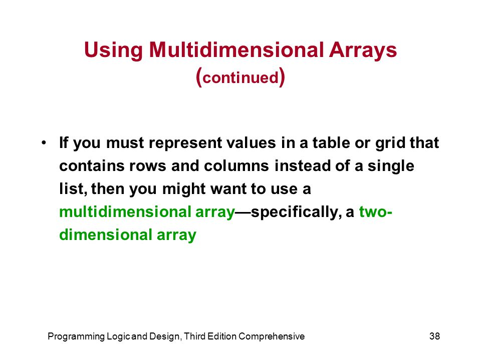 Using Multidimensional Arrays (continued)