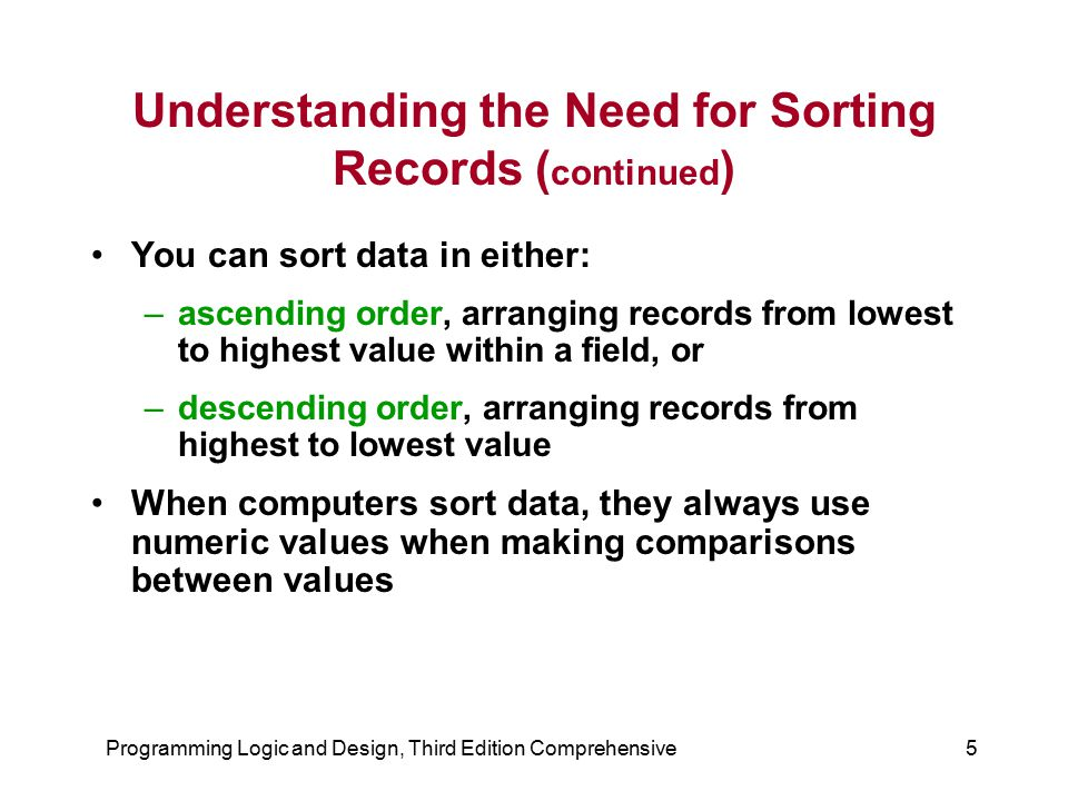 Understanding the Need for Sorting Records (continued)