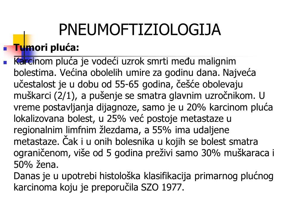 PNEUMOFTIZIOLOGIJA Tumori pluća: