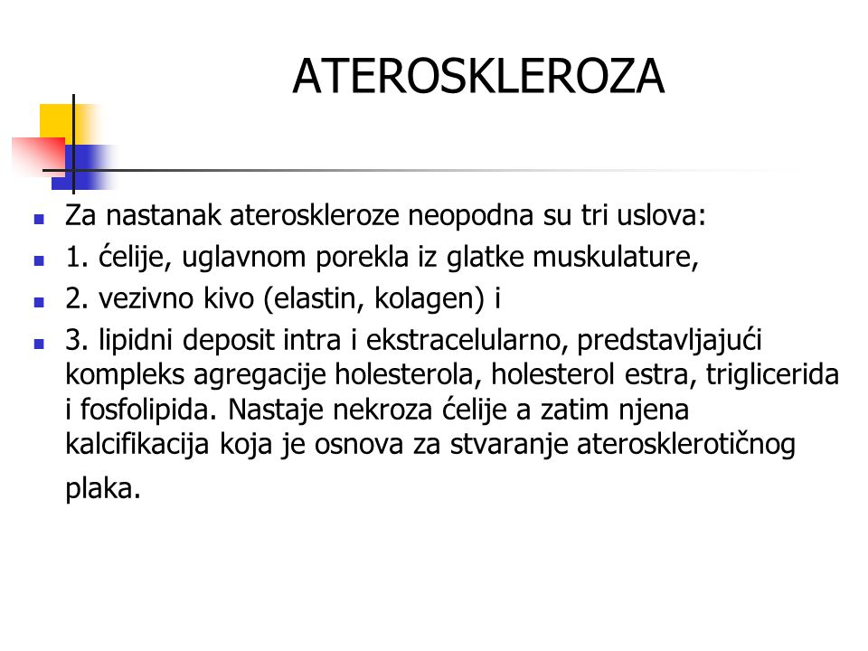 ATEROSKLEROZA Za nastanak ateroskleroze neopodna su tri uslova: