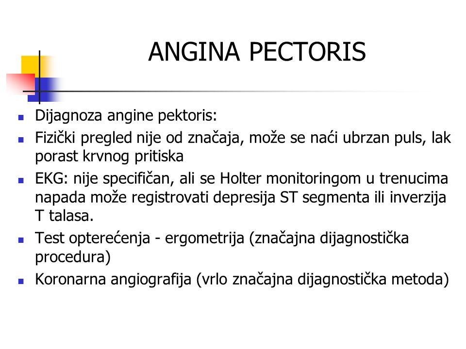 ANGINA PECTORIS Dijagnoza angine pektoris:
