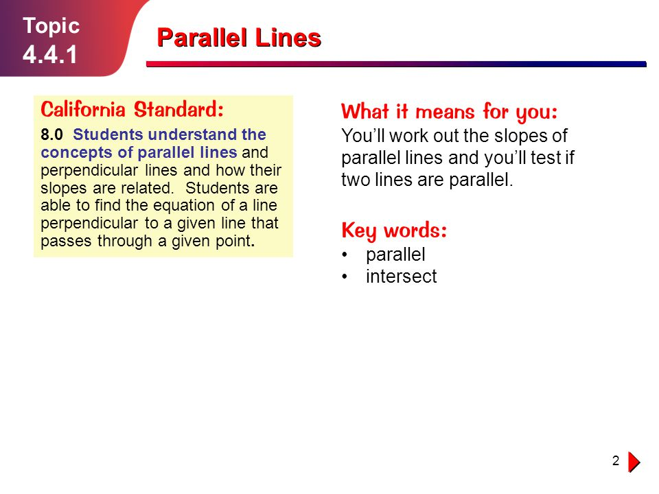 Parallel Lines 4.4.1 Topic California Standard: What it means for you: