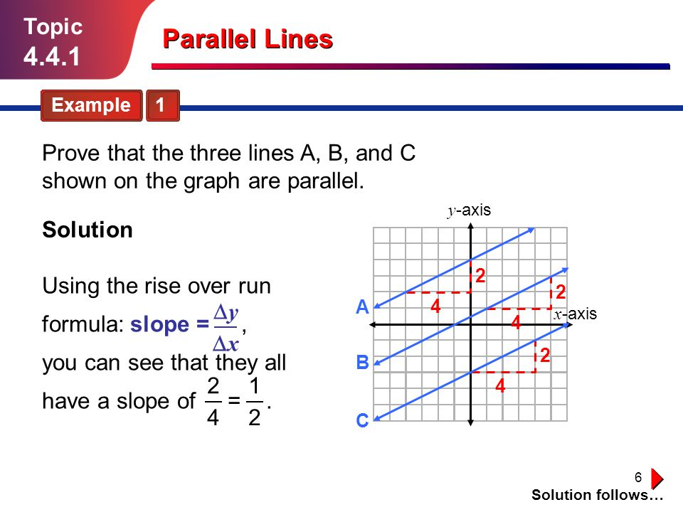 Topic 4.4.1. Parallel Lines. Example 1. Prove that the three lines A, B, and C shown on the graph are parallel.