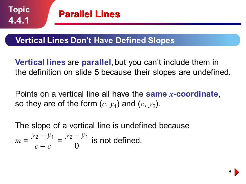 Parallel Lines 4.4.1 Topic Vertical Lines Don't Have Defined Slopes