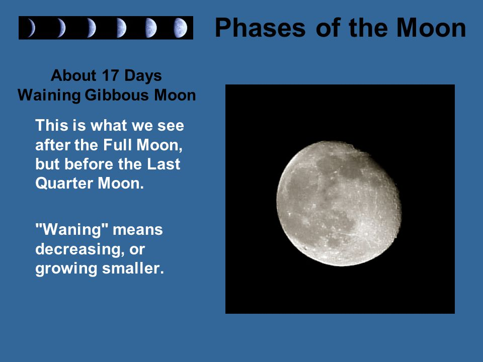 About 17 Days Waining Gibbous Moon