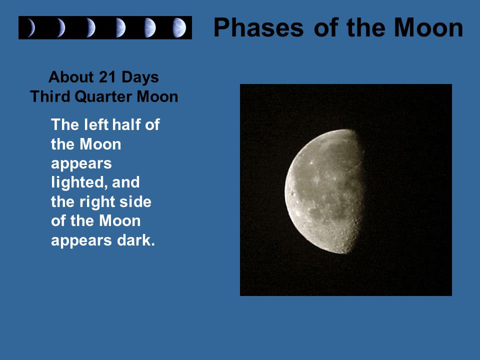 About 21 Days Third Quarter Moon