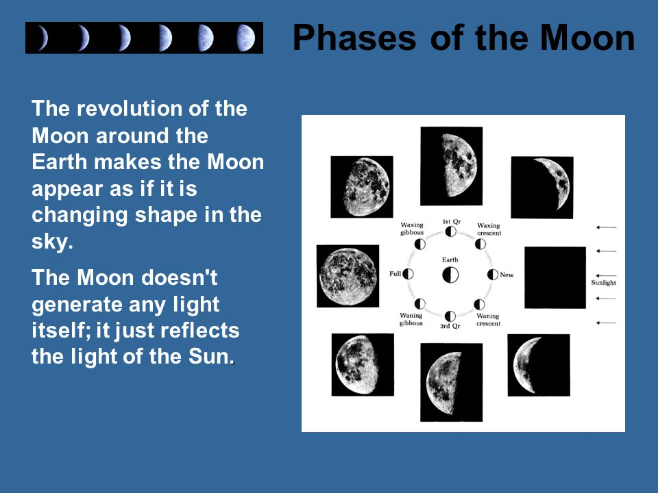 The revolution of the Moon around the Earth makes the Moon appear as if it is changing shape in the sky.