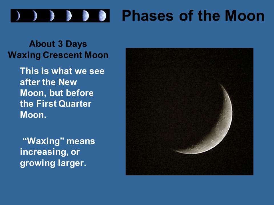 About 3 Days Waxing Crescent Moon