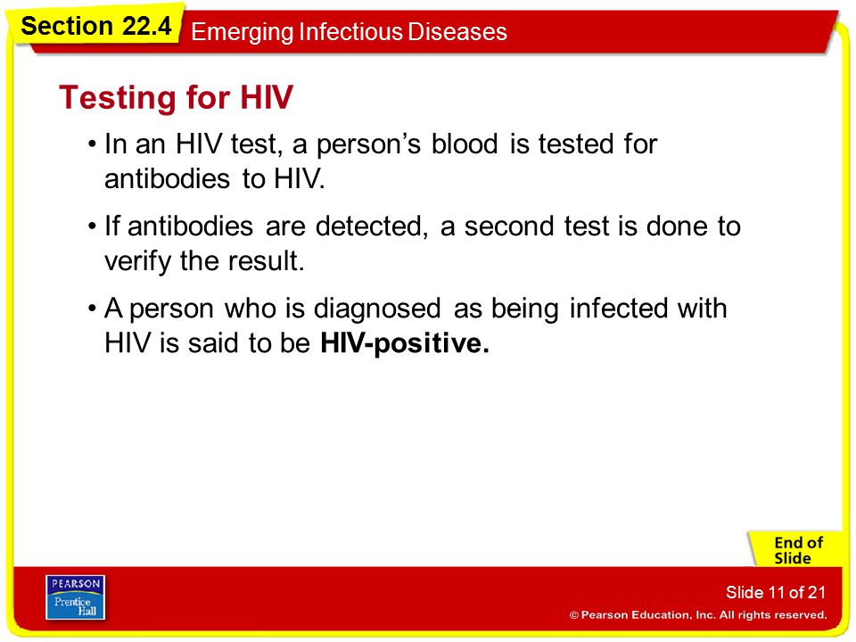 Testing for HIV In an HIV test, a person's blood is tested for antibodies to HIV.