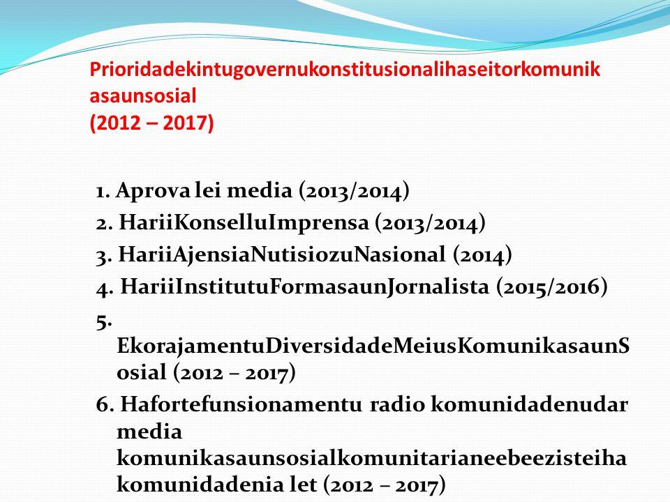 Prioridadekintugovernukonstitusionalihaseitorkomunikasaunsosial (2012 – 2017)