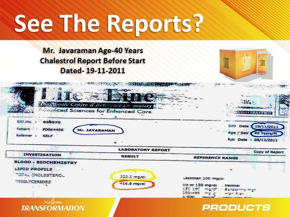 Mr. Javaraman Age-40 Years Chalestrol Report Before Start
