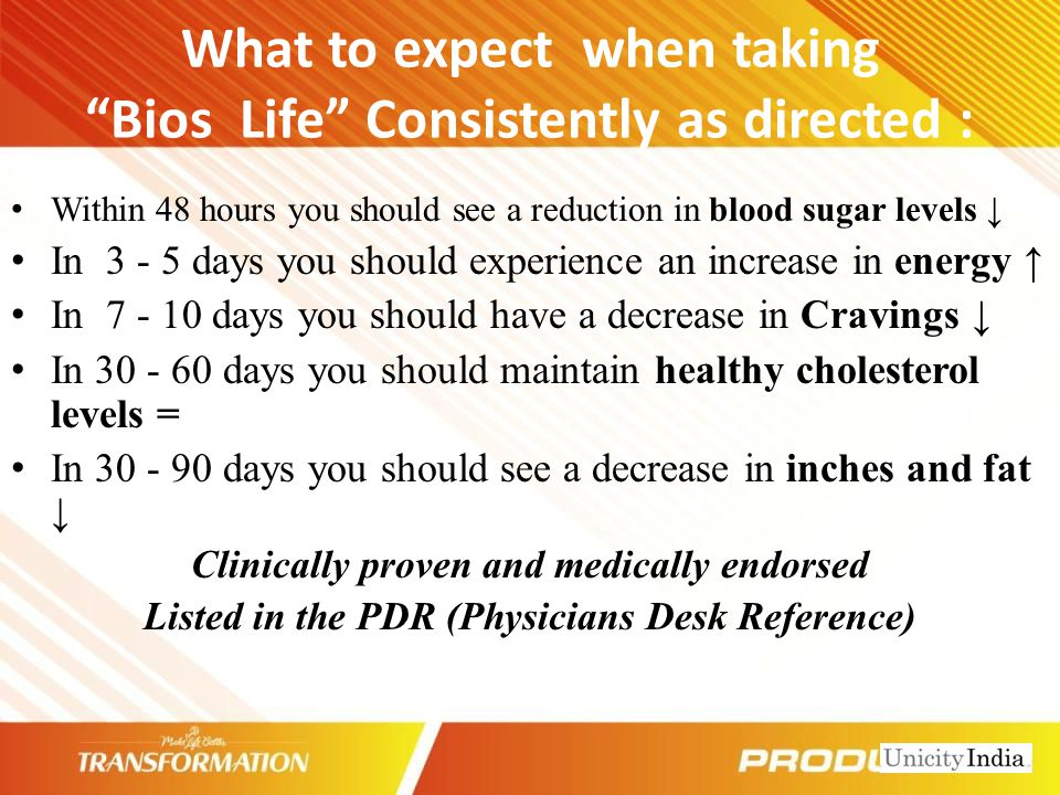 What to expect when taking Bios Life Consistently as directed :
