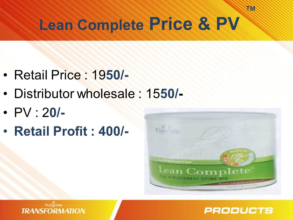 TM Lean Complete Price & PV