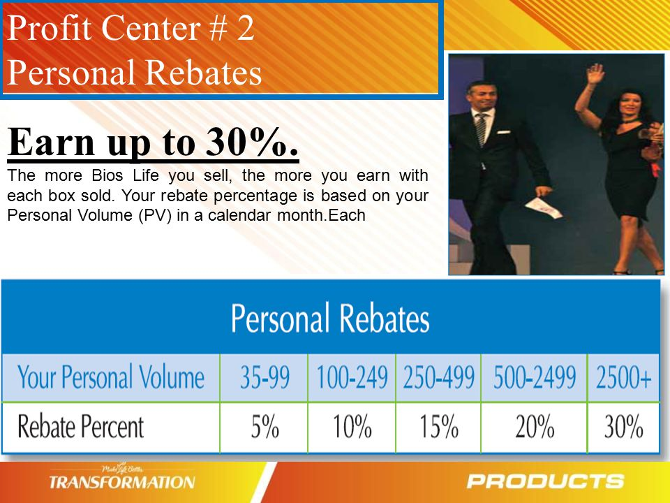 Earn up to 30%. Profit Center # 2 Personal Rebates