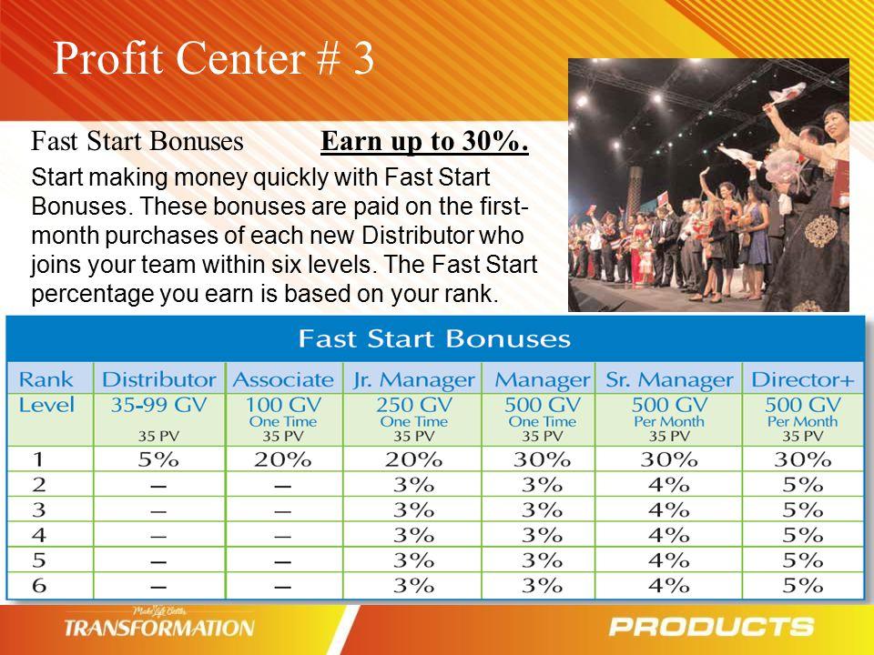 Profit Center # 3 Fast Start Bonuses Earn up to 30%.