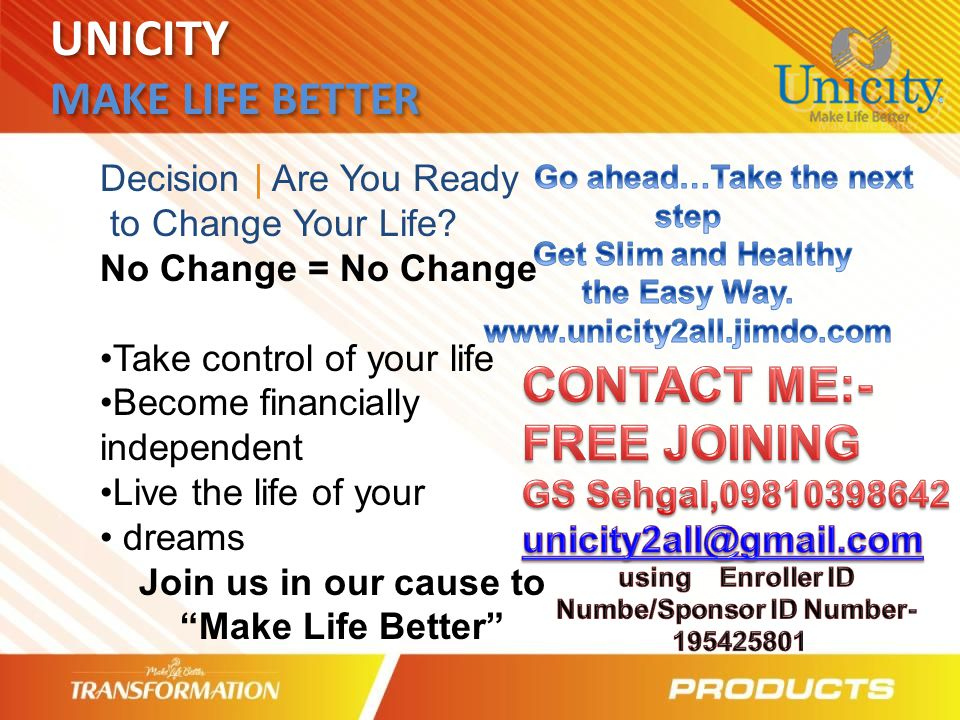 UNICITY MAKE LIFE BETTER CONTACT ME:- FREE JOINING