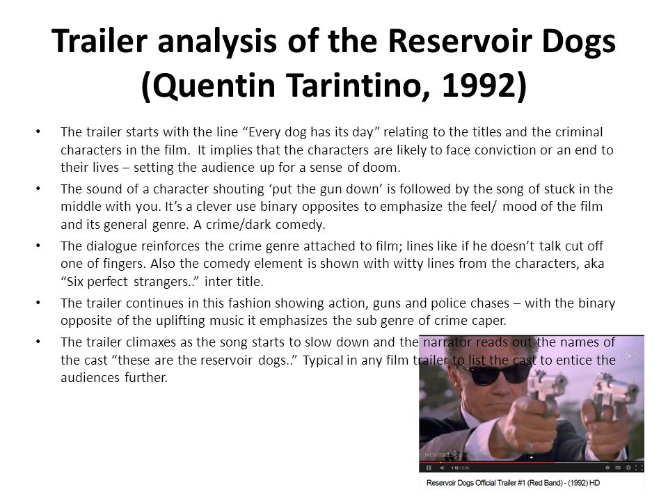 Trailer analysis of the Reservoir Dogs (Quentin Tarintino, 1992)
