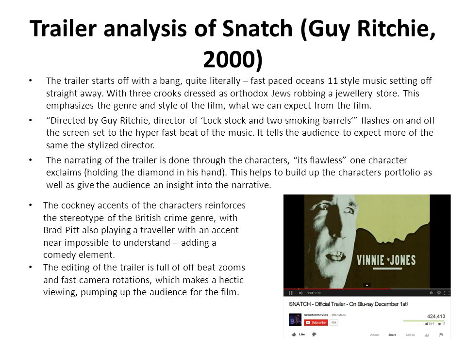 Trailer analysis of Snatch (Guy Ritchie, 2000)