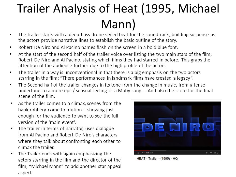 Trailer Analysis of Heat (1995, Michael Mann)