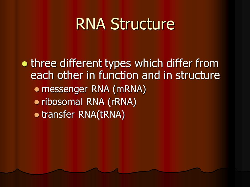 RNA Structure three different types which differ from each other in function and in structure. messenger RNA (mRNA)
