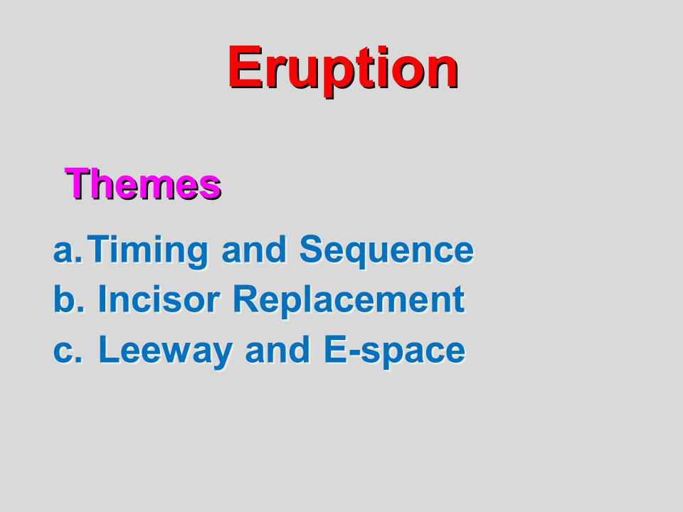 Eruption Themes Timing and Sequence Incisor Replacement
