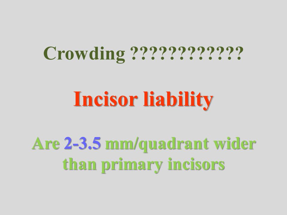 Crowding. Incisor liability Are 2-3