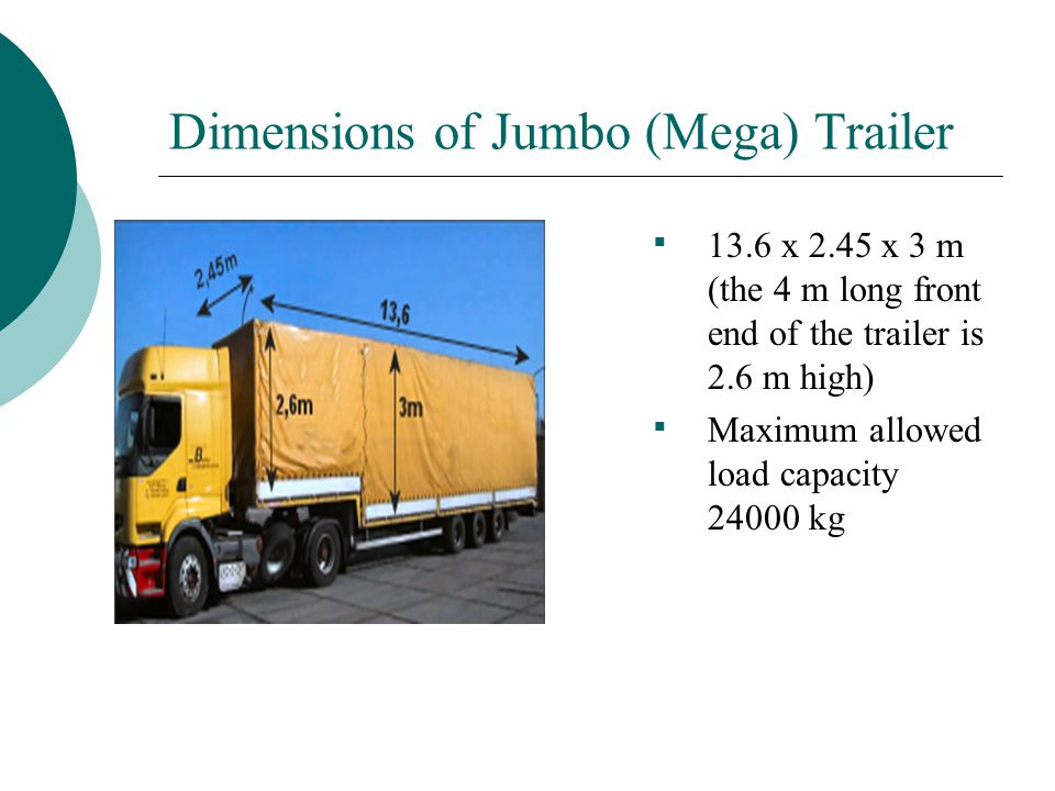 Dimensions of Jumbo (Mega) Trailer