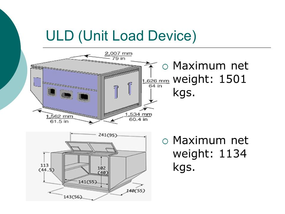 ULD (Unit Load Device) Maximum net weight: 1501 kgs.