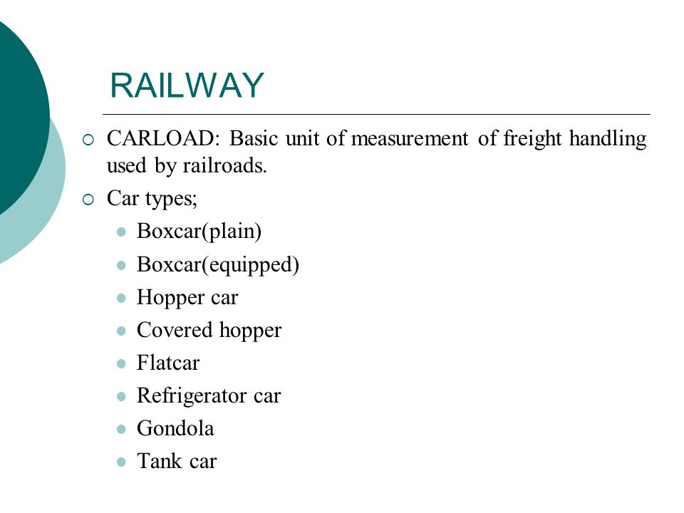 RAILWAY CARLOAD: Basic unit of measurement of freight handling used by railroads. Car types; Boxcar(plain)