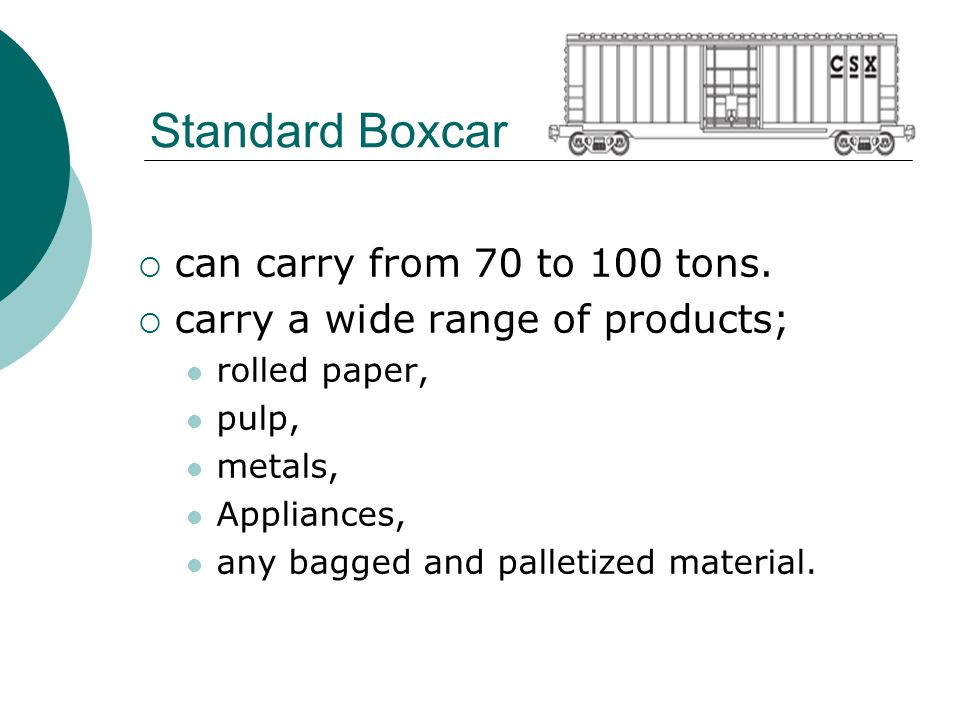 Standard Boxcar can carry from 70 to 100 tons.