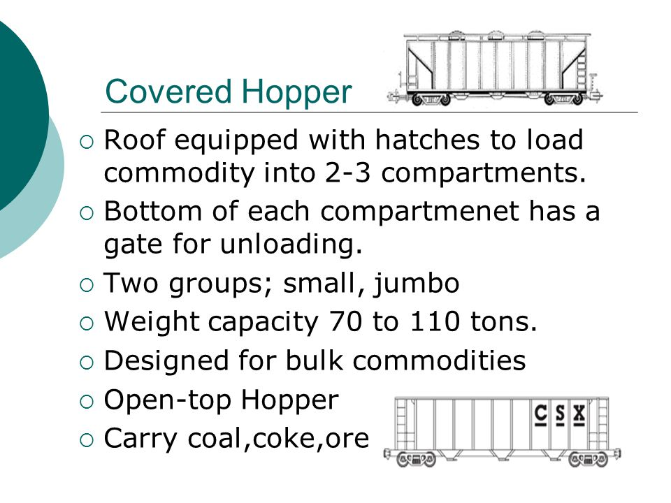 Covered Hopper Roof equipped with hatches to load commodity into 2-3 compartments. Bottom of each compartmenet has a gate for unloading.